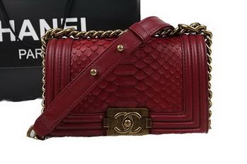 Chanel Boy Flap Shoulder Bag Red Original Python Leather A67085 Gold