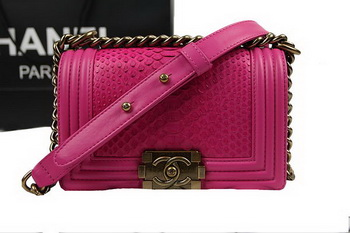 Chanel Boy Flap Shoulder Bag Rose Original Python Leather A67085 Gold