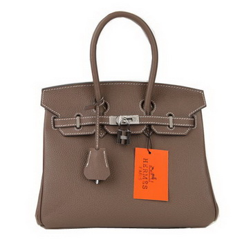 Hermes Birkin 25CM Tote Bags Dark Grey Original Leather Silver