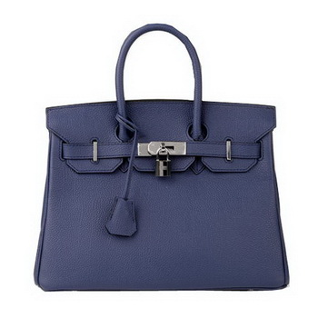 Hermes Birkin 30CM Tote Bag RoyalBlue Original Leather H30 Silver