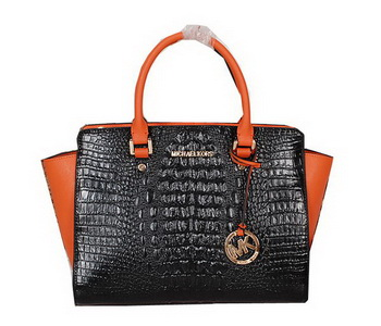 Michael Kors Selma Bag in Croco Leather MK0909 Black&Orange