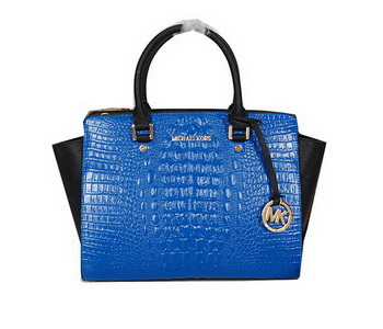 Michael Kors Selma Bag in Croco Leather MK0909 Blue&Black