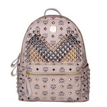 MCM Medium Stark Front Studs Backpack MC4237 Beige