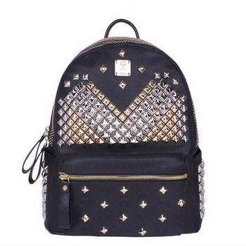 MCM Medium Stark Front Studs Backpack MC4237 Black