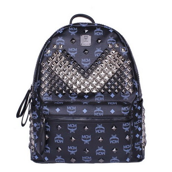 MCM Medium Stark Front Studs Backpack MC4237 Dark Blue
