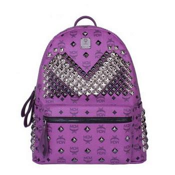 MCM Medium Stark Front Studs Backpack MC4237 Purple
