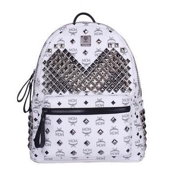 MCM Medium Stark Front Studs Backpack MC4237 White