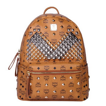 MCM Medium Stark Front Studs Backpack MC4238 Wheat