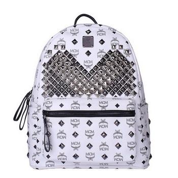 MCM Medium Stark Front Studs Backpack MC4238 White