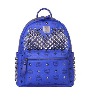 MCM Small Stark Front Studs Backpack MC4237S Blue