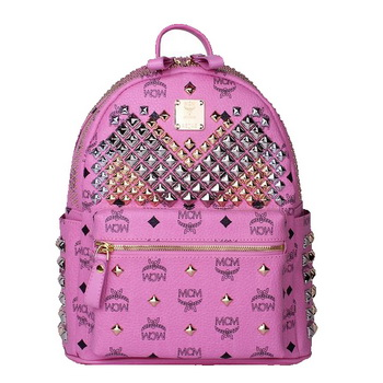 MCM Small Stark Front Studs Backpack MC4237S Rosy
