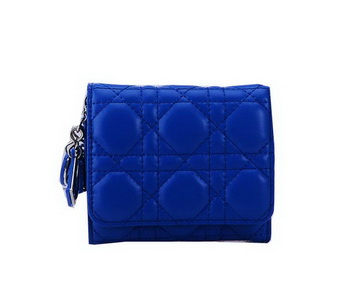 Dior Bi-Flod Wallet in Lambskin Leahter CD085 Blue