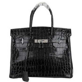 Hermes Birkin 30CM Tote Bags Black Iridescent Croco Leather Silver