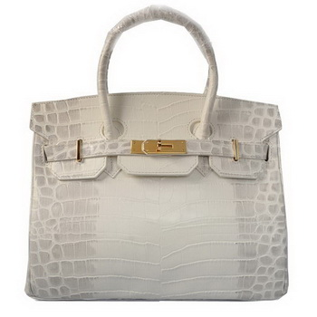Hermes Birkin 30CM Tote Bags OffWhite Croco Leather Gold