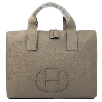 Hermes Briefcase Original Grainy Leather H8813 Grey