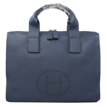 Hermes Briefcase Original Grainy Leather H8813 Royal