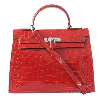 Hermes Kelly 32cm Shoulder Bags Red Iridescent Croco Leather Silver