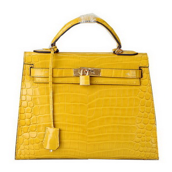 Hermes Kelly 32cm Shoulder Bags Yellow Iridescent Croco Leather Gold