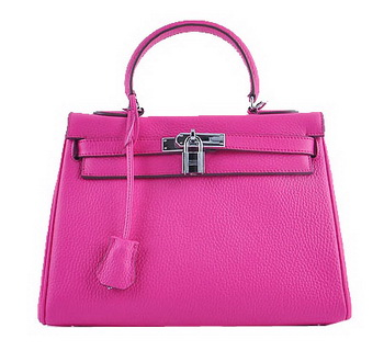 Hermes Kelly 28cm Shoulder Bags Peach Grainy Leather Silver