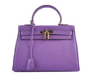 Hermes Kelly 28cm Shoulder Bags Purple Grainy Leather Gold