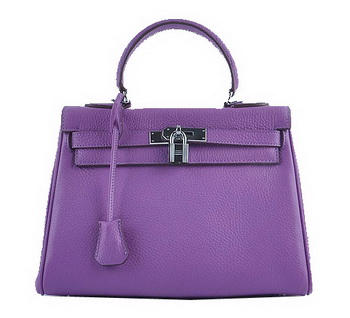 Hermes Kelly 28cm Shoulder Bags Purple Grainy Leather Silver