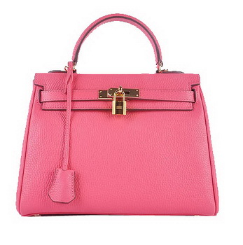Hermes Kelly 28cm Shoulder Bags Rosy Grainy Leather Gold