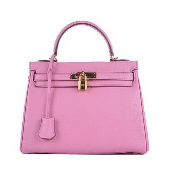 Hermes Kelly 28cm Shoulder Bags Sakura Grainy Leather Gold
