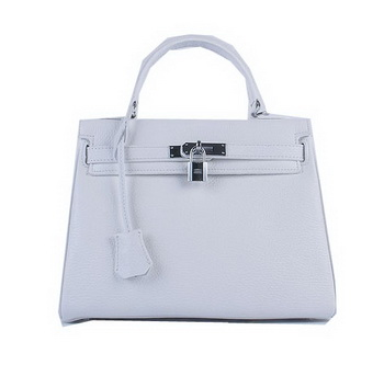 Hermes Kelly 28cm Shoulder Bags White Grainy Leather Silver