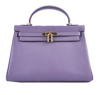 Hermes Kelly 32cm Shoulder Bags Lavender Grainy Leather Gold