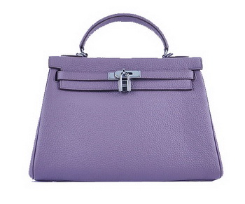 Hermes Kelly 32cm Shoulder Bags Lavender Grainy Leather Silver