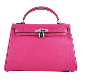 Hermes Kelly 32cm Shoulder Bags Rosy Grainy Leather Silver