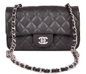 Chanel mini Classic Flap Bag Black Cannage Pattern 1117 Silver