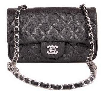 Chanel mini Classic Flap Bag Black Cannage Pattern 1117 Silver
