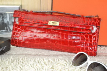 Hermes Kelly Clutch Bag Croco Leather K31 Red