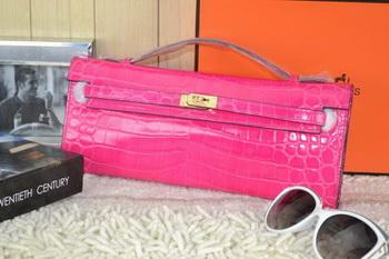 Hermes Kelly Clutch Bag Croco Leather K31 Rose