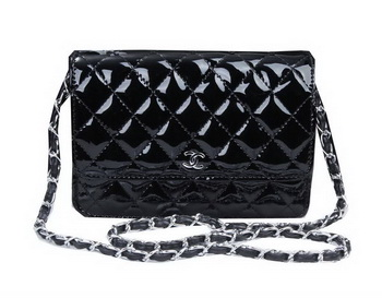 Chanel mini Flap Bag A33814 Black Patent Leather Silver