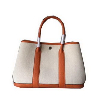 Hermes Garden Party 30CM Bag Canvas Leather H11S Orange