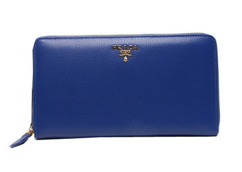 Prada Grainy Leather Wallets 1M1188 Blue