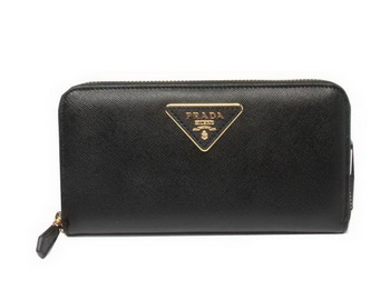 Prada Saffiano Calfskin Leather Zippy Wallets 1M0506 Black