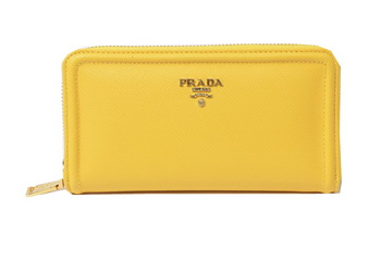 Prada Saffiano Calfskin Leather Zippy Wallets 1M0506 Yellow
