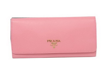 Prada Saffiano Leather Bifond Wallet 1M11335 Pink