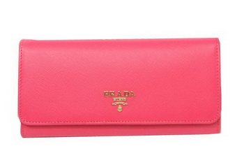Prada Saffiano Leather Bifond Wallet 1M11335 Rosy