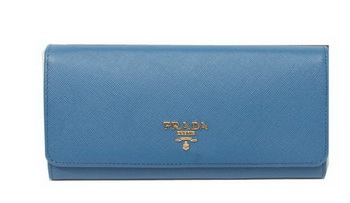 Prada Saffiano Leather Bifond Wallet 1M11335 SkyBlue