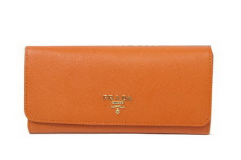 Prada Saffiano Leather Bifond Wallet 1M11335 Wheat