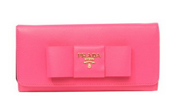 Prada Saffiano Leather Wallet with Leather Bow 1M1132B Rosy