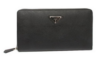 Prada Saffiano Leather Wallets 1M1188 Black
