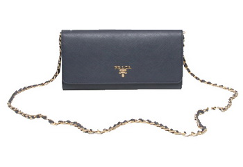 Prada Saffiano Metallic Flap Wallets 1M1290 Black