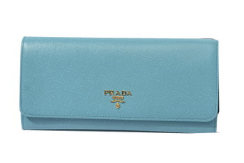 Prada Saffiano Metallic Flap Wallets 1M1290 Light Green