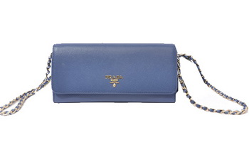 Prada Saffiano Metallic Flap Wallets 1M1290 Royal