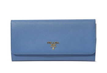 Prada Saffiano Metallic Flap Wallets 1M1290 SkyBlue